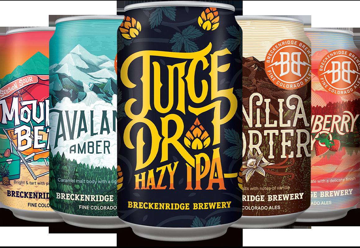 Juice Drop Hazy IPA, Vanilla Porter, Avalanche Ale, Mountain Beach, Strawberry